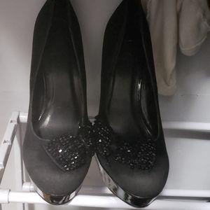 Black suede material high heels